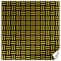 Woven1 Black Marble & Yellow Colored Pencil (r) Canvas 12  X 12   by trendistuff