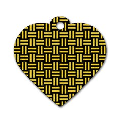 Woven1 Black Marble & Yellow Colored Pencil (r) Dog Tag Heart (one Side) by trendistuff
