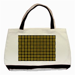 Woven1 Black Marble & Yellow Colored Pencil (r) Basic Tote Bag (two Sides) by trendistuff