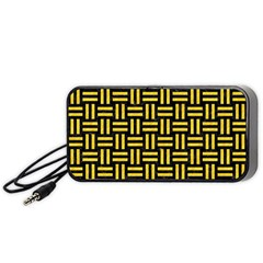 Woven1 Black Marble & Yellow Colored Pencil (r) Portable Speaker by trendistuff