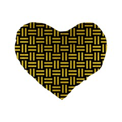 Woven1 Black Marble & Yellow Colored Pencil (r) Standard 16  Premium Heart Shape Cushions by trendistuff