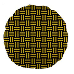 Woven1 Black Marble & Yellow Colored Pencil (r) Large 18  Premium Flano Round Cushions by trendistuff