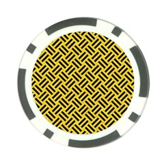 Woven2 Black Marble & Yellow Colored Pencil Poker Chip Card Guard