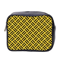 Woven2 Black Marble & Yellow Colored Pencil Mini Toiletries Bag 2 Side by trendistuff