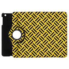 Woven2 Black Marble & Yellow Colored Pencil Apple Ipad Mini Flip 360 Case by trendistuff