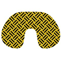 Woven2 Black Marble & Yellow Colored Pencil Travel Neck Pillows by trendistuff