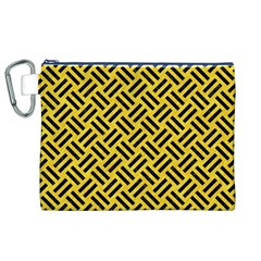 Woven2 Black Marble & Yellow Colored Pencil Canvas Cosmetic Bag (xl) by trendistuff