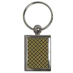 Woven2 Black Marble & Yellow Colored Pencil (r) Key Chains (rectangle)  by trendistuff