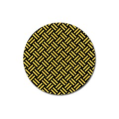 Woven2 Black Marble & Yellow Colored Pencil (r) Magnet 3  (round) by trendistuff
