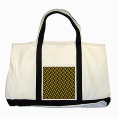 Woven2 Black Marble & Yellow Colored Pencil (r) Two Tone Tote Bag by trendistuff