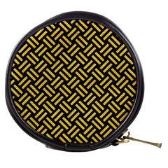 Woven2 Black Marble & Yellow Colored Pencil (r) Mini Makeup Bags by trendistuff
