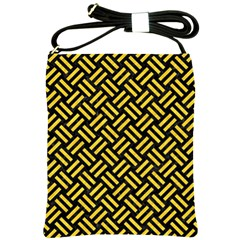 Woven2 Black Marble & Yellow Colored Pencil (r) Shoulder Sling Bags by trendistuff