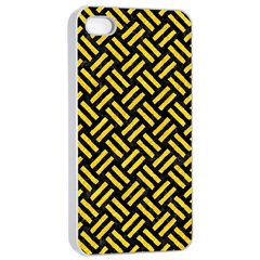 Woven2 Black Marble & Yellow Colored Pencil (r) Apple Iphone 4/4s Seamless Case (white) by trendistuff