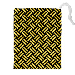Woven2 Black Marble & Yellow Colored Pencil (r) Drawstring Pouches (xxl) by trendistuff