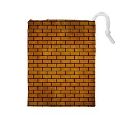 Brick1 Black Marble & Yellow Grunge Drawstring Pouches (large)  by trendistuff