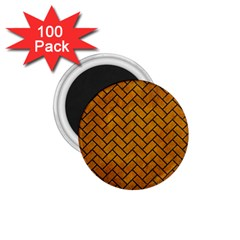 Brick2 Black Marble & Yellow Grunge 1 75  Magnets (100 Pack)  by trendistuff
