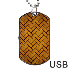 Brick2 Black Marble & Yellow Grunge Dog Tag Usb Flash (two Sides) by trendistuff