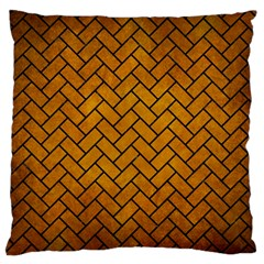 Brick2 Black Marble & Yellow Grunge Large Flano Cushion Case (two Sides) by trendistuff