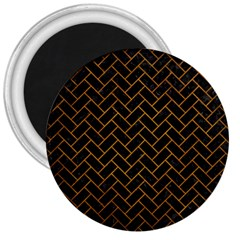 Brick2 Black Marble & Yellow Grunge (r) 3  Magnets by trendistuff