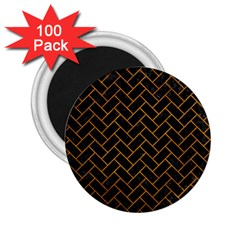 Brick2 Black Marble & Yellow Grunge (r) 2 25  Magnets (100 Pack)  by trendistuff