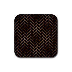 Brick2 Black Marble & Yellow Grunge (r) Rubber Square Coaster (4 Pack)  by trendistuff