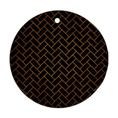 Brick2 Black Marble & Yellow Grunge (r) Round Ornament (two Sides) by trendistuff