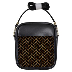 Brick2 Black Marble & Yellow Grunge (r) Girls Sling Bags by trendistuff