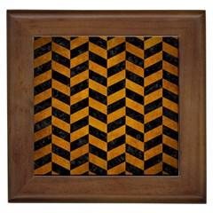 Chevron1 Black Marble & Yellow Grunge Framed Tiles by trendistuff