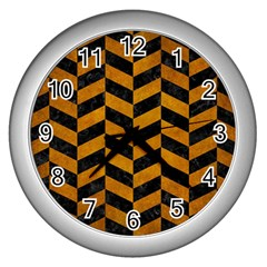 Chevron1 Black Marble & Yellow Grunge Wall Clocks (silver)  by trendistuff