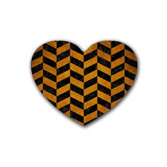Chevron1 Black Marble & Yellow Grunge Heart Coaster (4 Pack)  by trendistuff