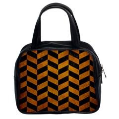 Chevron1 Black Marble & Yellow Grunge Classic Handbags (2 Sides)