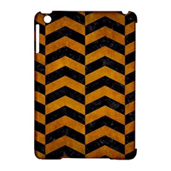 Chevron2 Black Marble & Yellow Grunge Apple Ipad Mini Hardshell Case (compatible With Smart Cover) by trendistuff