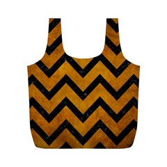 Chevron9 Black Marble & Yellow Grunge Full Print Recycle Bags (m)  by trendistuff