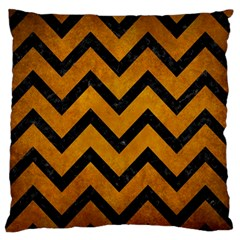 Chevron9 Black Marble & Yellow Grunge Large Flano Cushion Case (two Sides) by trendistuff