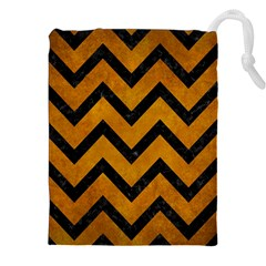 Chevron9 Black Marble & Yellow Grunge Drawstring Pouches (xxl) by trendistuff