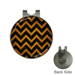 Chevron9 Black Marble & Yellow Grunge (r) Hat Clips With Golf Markers by trendistuff
