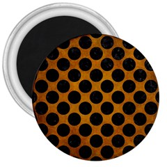 Circles2 Black Marble & Yellow Grunge 3  Magnets by trendistuff