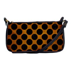 Circles2 Black Marble & Yellow Grunge Shoulder Clutch Bags by trendistuff