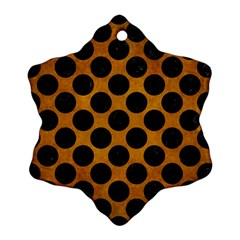 Circles2 Black Marble & Yellow Grunge Ornament (snowflake)