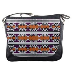 Purple And Brown Shapes                                  Messenger Bag by LalyLauraFLM