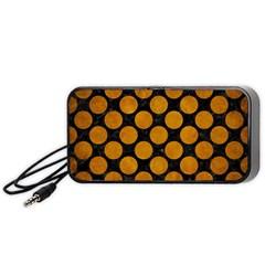 Circles2 Black Marble & Yellow Grunge (r) Portable Speaker by trendistuff