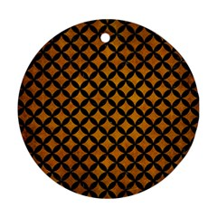Circles3 Black Marble & Yellow Grunge Round Ornament (two Sides) by trendistuff