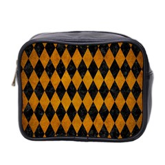 Diamond1 Black Marble & Yellow Grunge Mini Toiletries Bag 2 Side by trendistuff