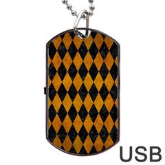 Diamond1 Black Marble & Yellow Grunge Dog Tag Usb Flash (one Side) by trendistuff