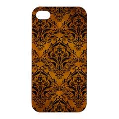 Damask1 Black Marble & Yellow Grunge Apple Iphone 4/4s Hardshell Case by trendistuff