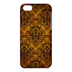 Damask1 Black Marble & Yellow Grunge Apple Iphone 5c Hardshell Case by trendistuff