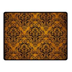Damask1 Black Marble & Yellow Grunge Double Sided Fleece Blanket (small)  by trendistuff