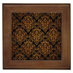 Damask1 Black Marble & Yellow Grunge (r) Framed Tiles by trendistuff