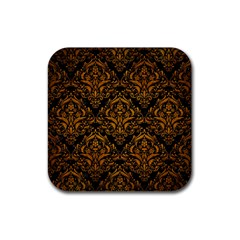 Damask1 Black Marble & Yellow Grunge (r) Rubber Square Coaster (4 Pack)  by trendistuff