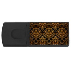 Damask1 Black Marble & Yellow Grunge (r) Rectangular Usb Flash Drive by trendistuff